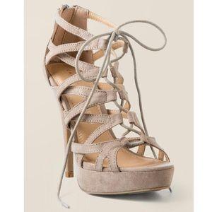 NIB Taupe Towering Heel Caged Lace Up Sandal